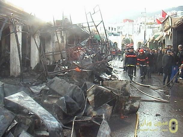 حريق مهول بقيسارية السوق البلدي بوزان