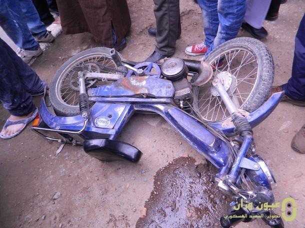 سارق دراجة نارية لعون سلطة يتسبب في حادث سير بوزان