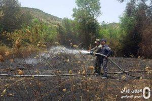 عناصر الوقاية المدنية تخمد الحريق.