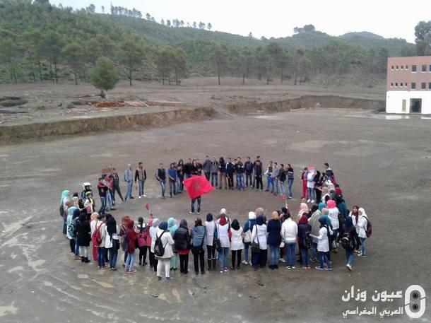التلاميذ خلال وقفتهم الاحتجاجية