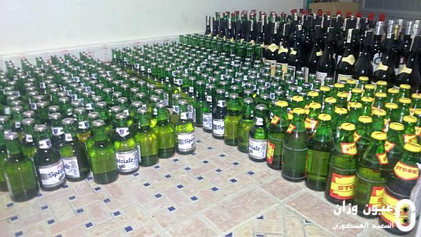 جانب من قنينات الخمر المحجوزة