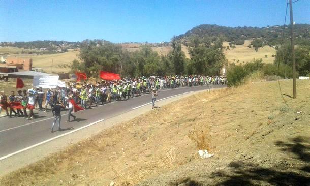 خلال المسيرة الاحتجاجية
